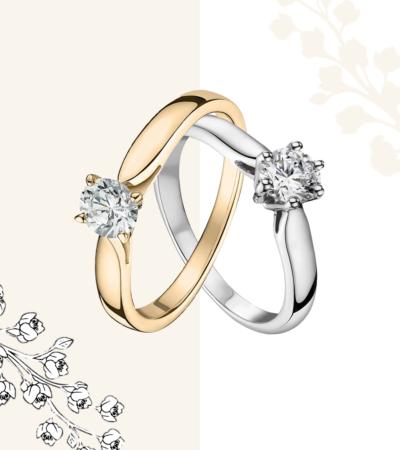 Duo solitaire or et diamants - Solitaire 6 griffes et 4 griffes - Or 18 carats