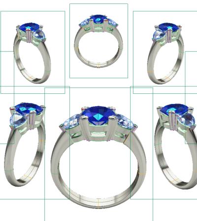 Modélisation 3D - Création sur-mesure - Bijoux or et diamants