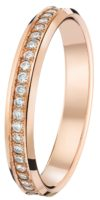 Alliance serti grains or rose 18 carats et diamants