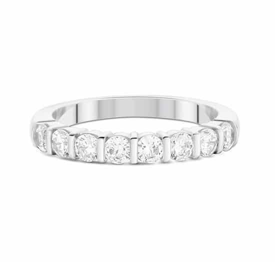 Alliance barrette - Or blanc 18 carats - Diamants - Grand modèle
