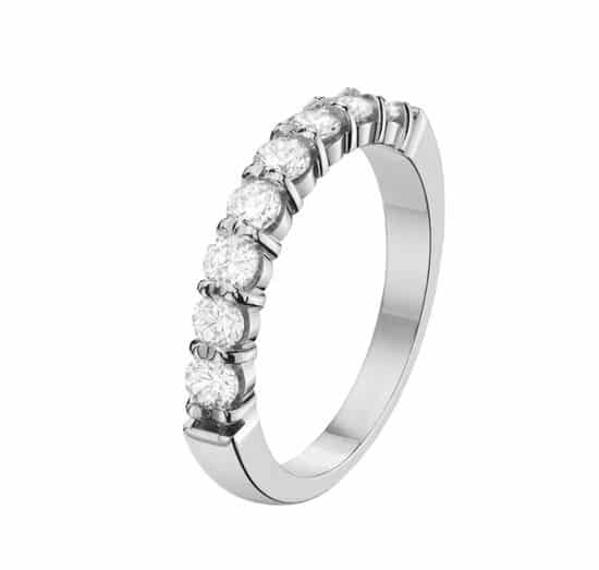 Alliance griffe or blanc 18 carats - diamants
