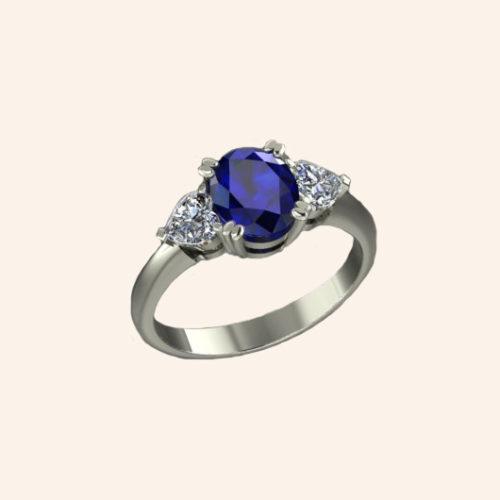 Solitaire accompagné saphir et diamants cœur - Or blanc 18 carats