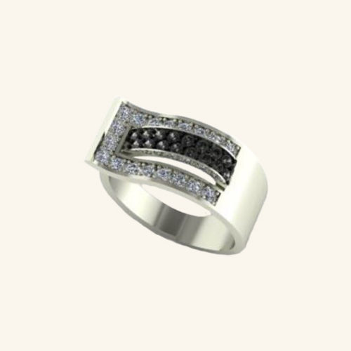 Bague ceinture - Or blanc 18 carats - Diamants