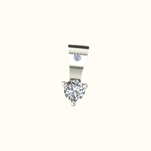 Pendentif 3 griffes - Or blanc 18 carats - Diamants
