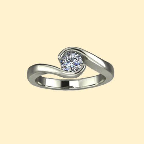 Solitaire vrille - Or blanc 18 carats - Diamant