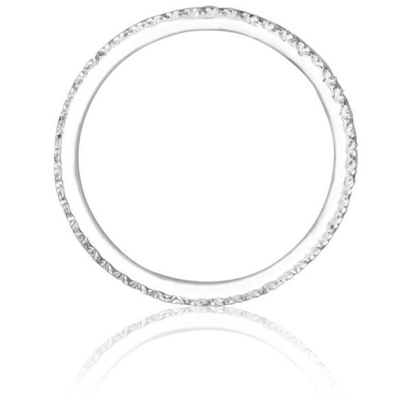 Alliance diamant serti descendu - Or blanc