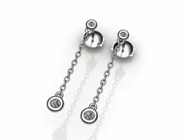 Boucle d'oreilles pendantes diamants - Or blanc 18 carats