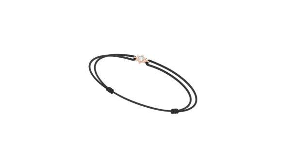 Bracelet cordon diamant etoile - Or rose 18 carats