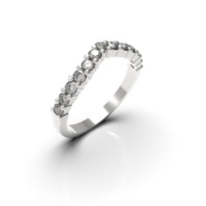 Alliance forme V diamants - Or blanc 18 carat