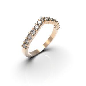 Alliance forme V diamants - Or rose 18 carat