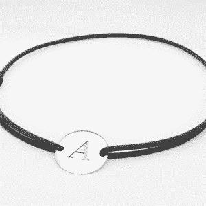Bracelet cordon médaille or blanc