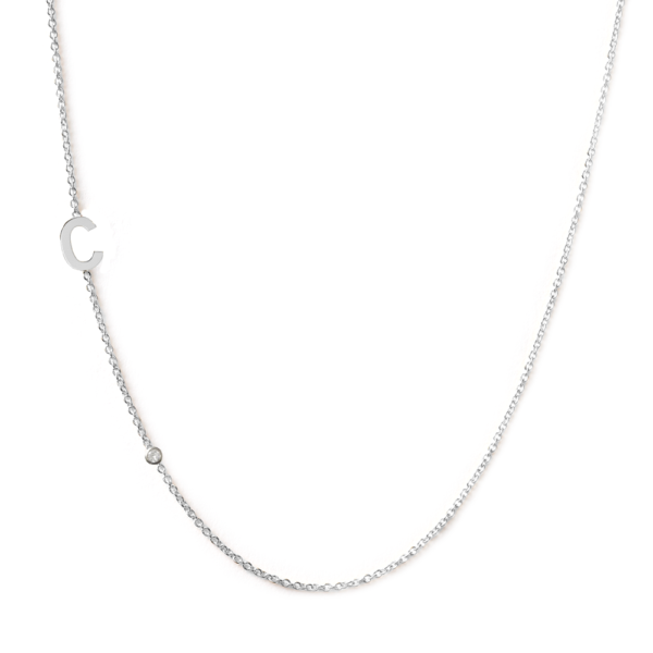 Collier 1 lettre diamant or blanc 18 carats