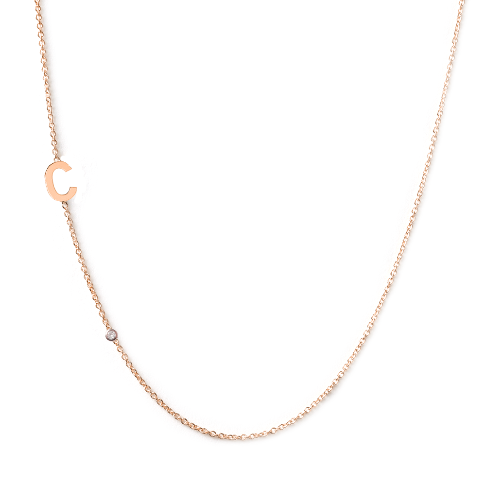 Collier 1 lettre diamant or rose 18 carats