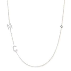 Collier 2 lettres personnalisées diamant or blanc