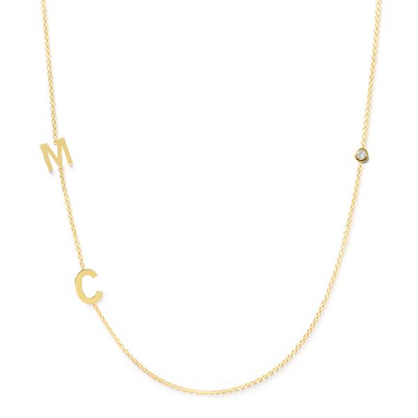 Collier 2 lettres personnalisées diamant or jaune