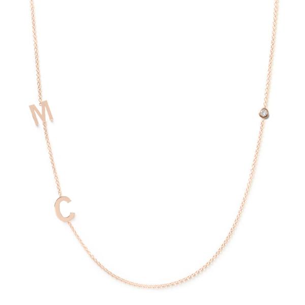 Collier 2 lettres personnalisées diamant or rose