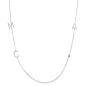 Collier 3 lettres personnalisées or blanc diamant