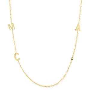 Collier 3 lettres personnalisées or jaune diamant