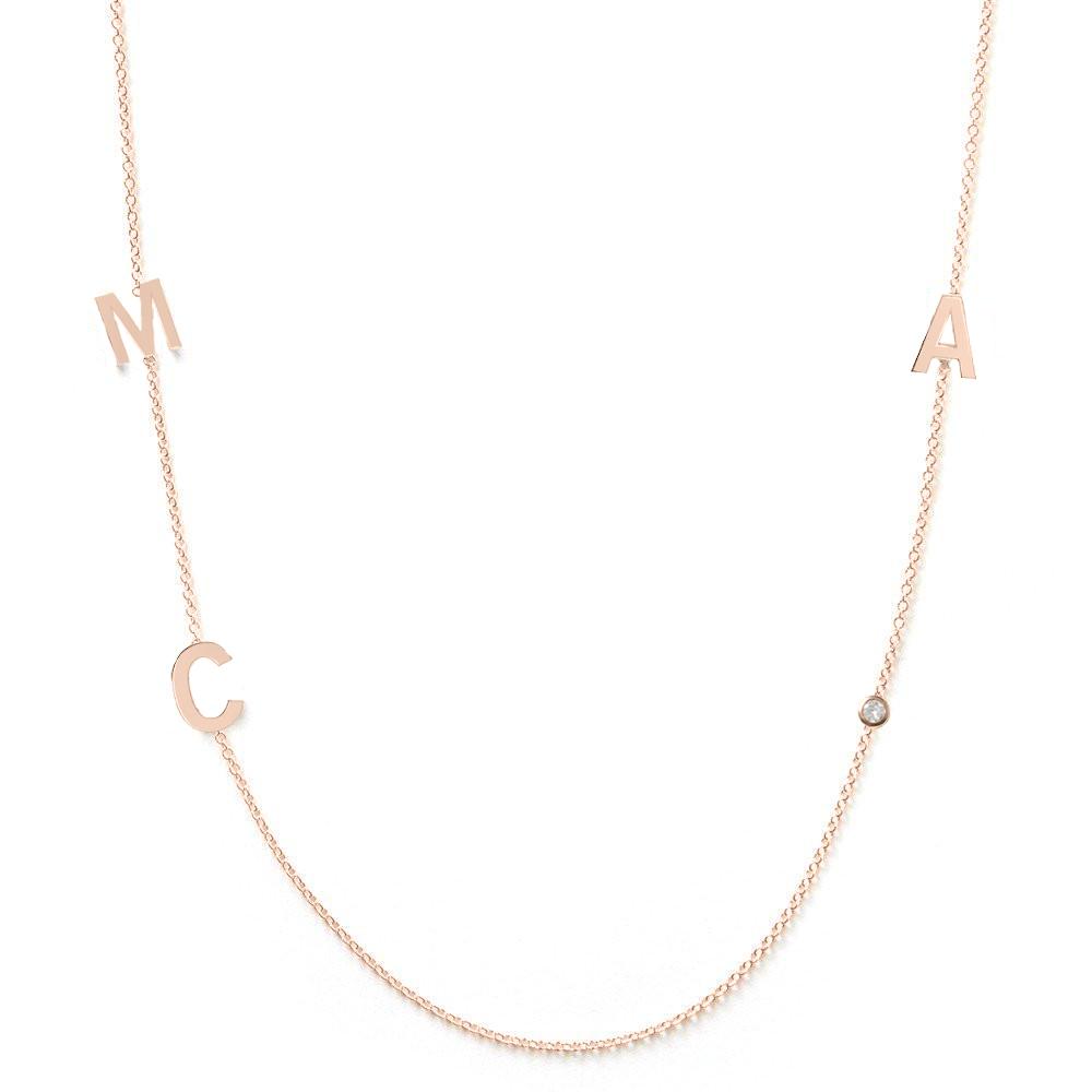 Collier 3 lettres personnalisées or rose diamant