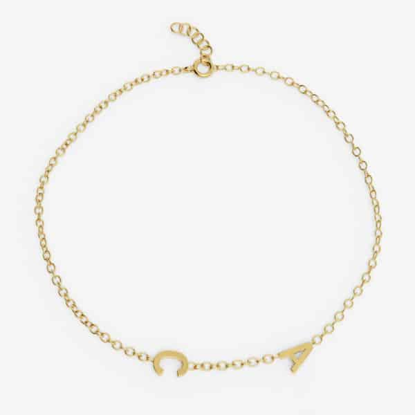 Bracelet 2 lettres personnalisées - Or jaune 18 carats
