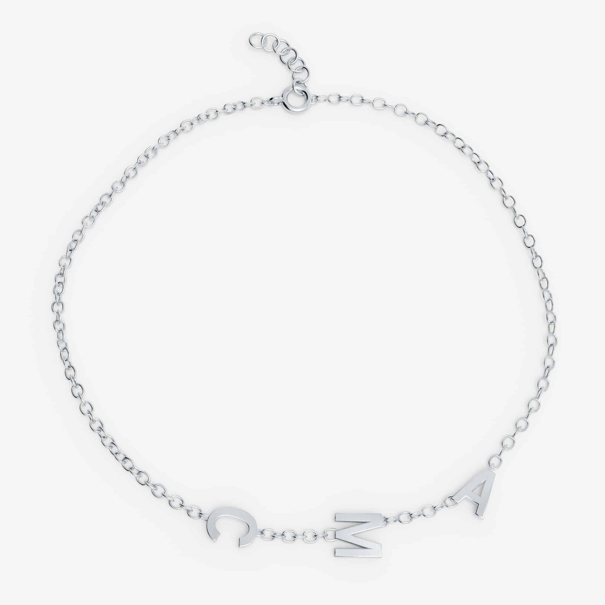 Bracelet 3 lettres personnalisées - Or blanc 18 carats