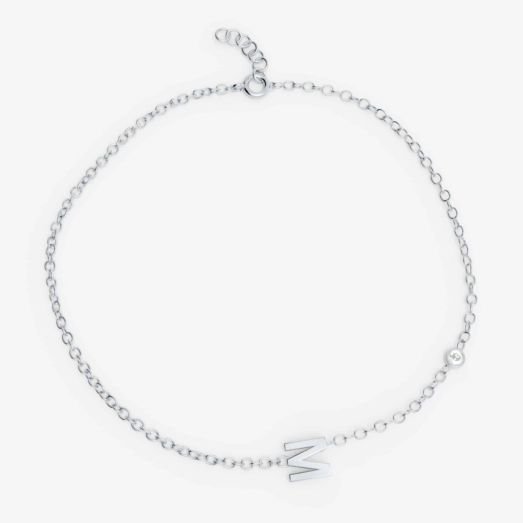 Bracelet lettre personnalisée diamant , Or blanc 18 carats