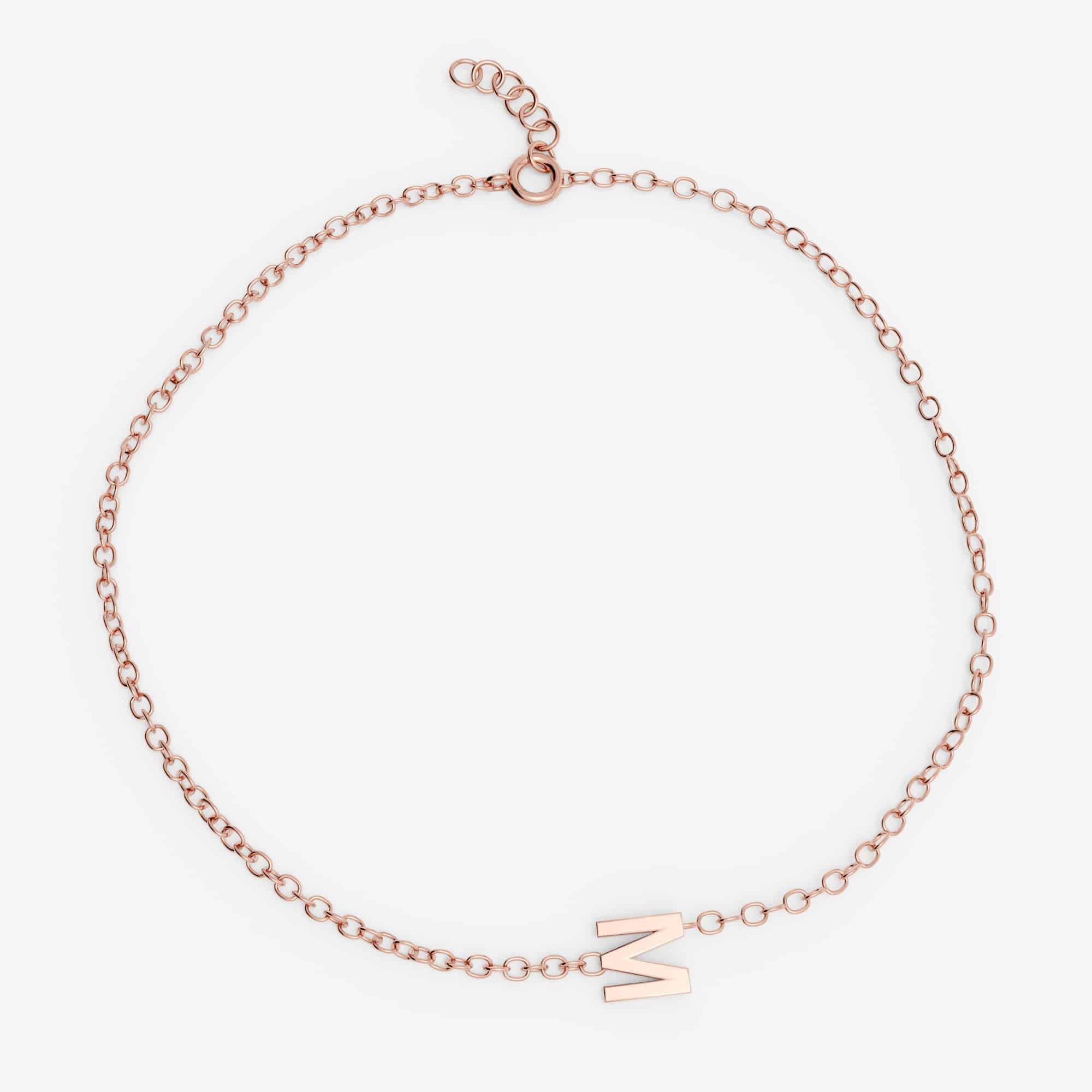 Bracelet lettre personnalisée , Or rose 18 carats