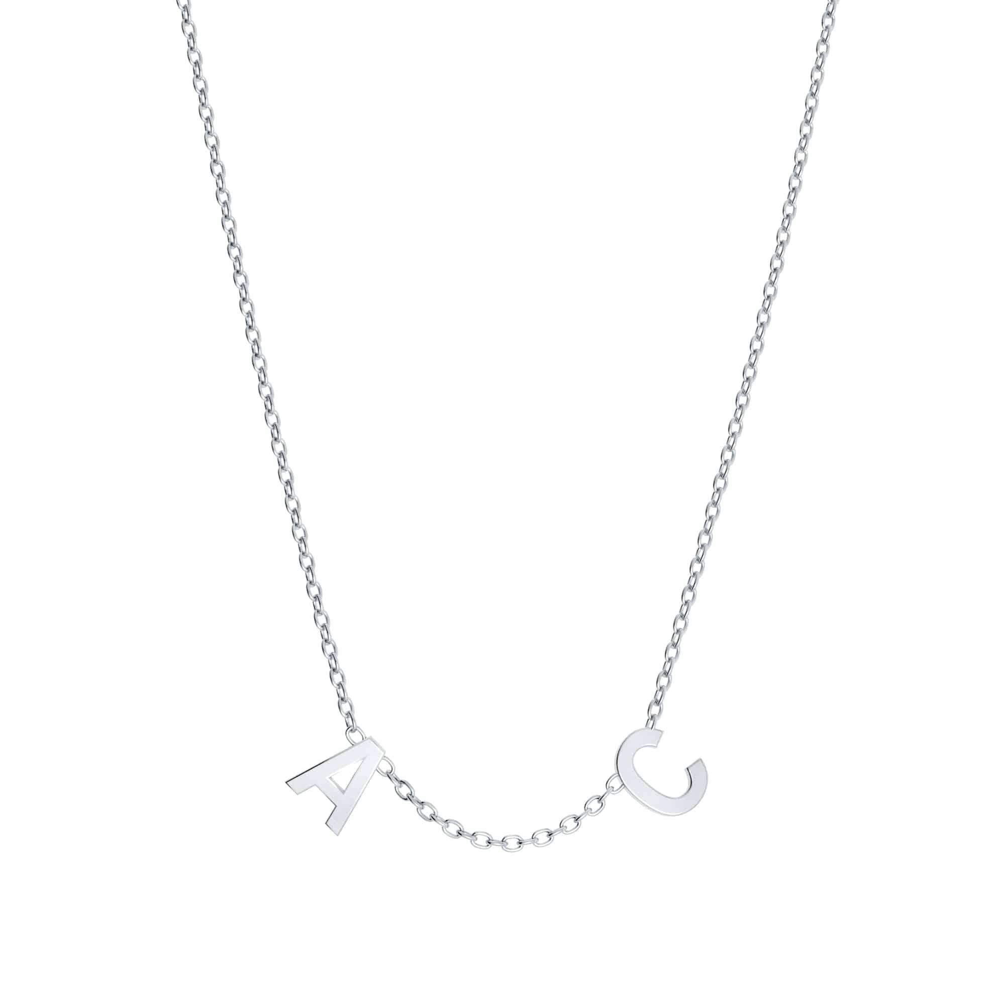 Collier lettres personnalisée - Or blanc 18 carats