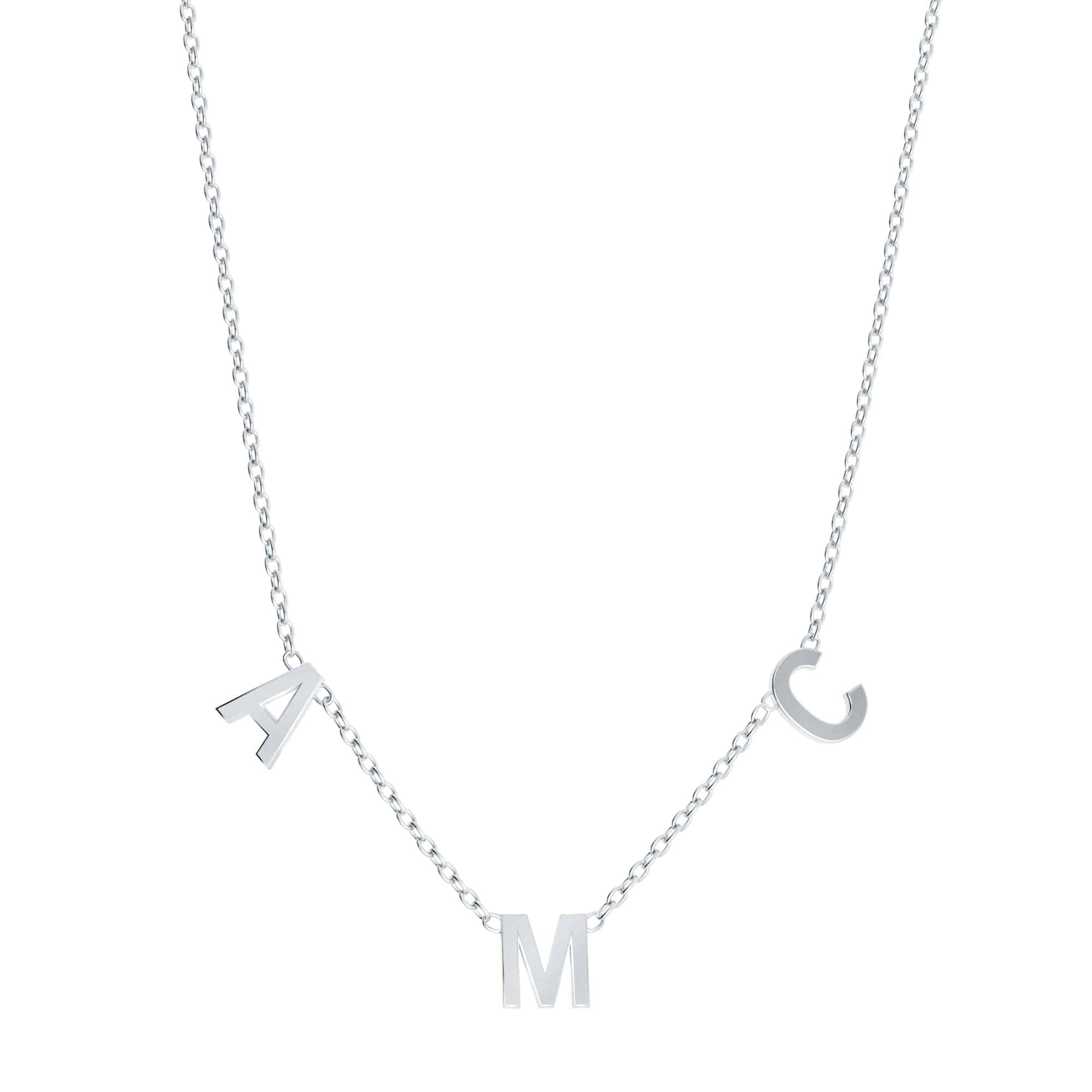 Collier 3 lettres personnalisées - Or blanc 18 carats