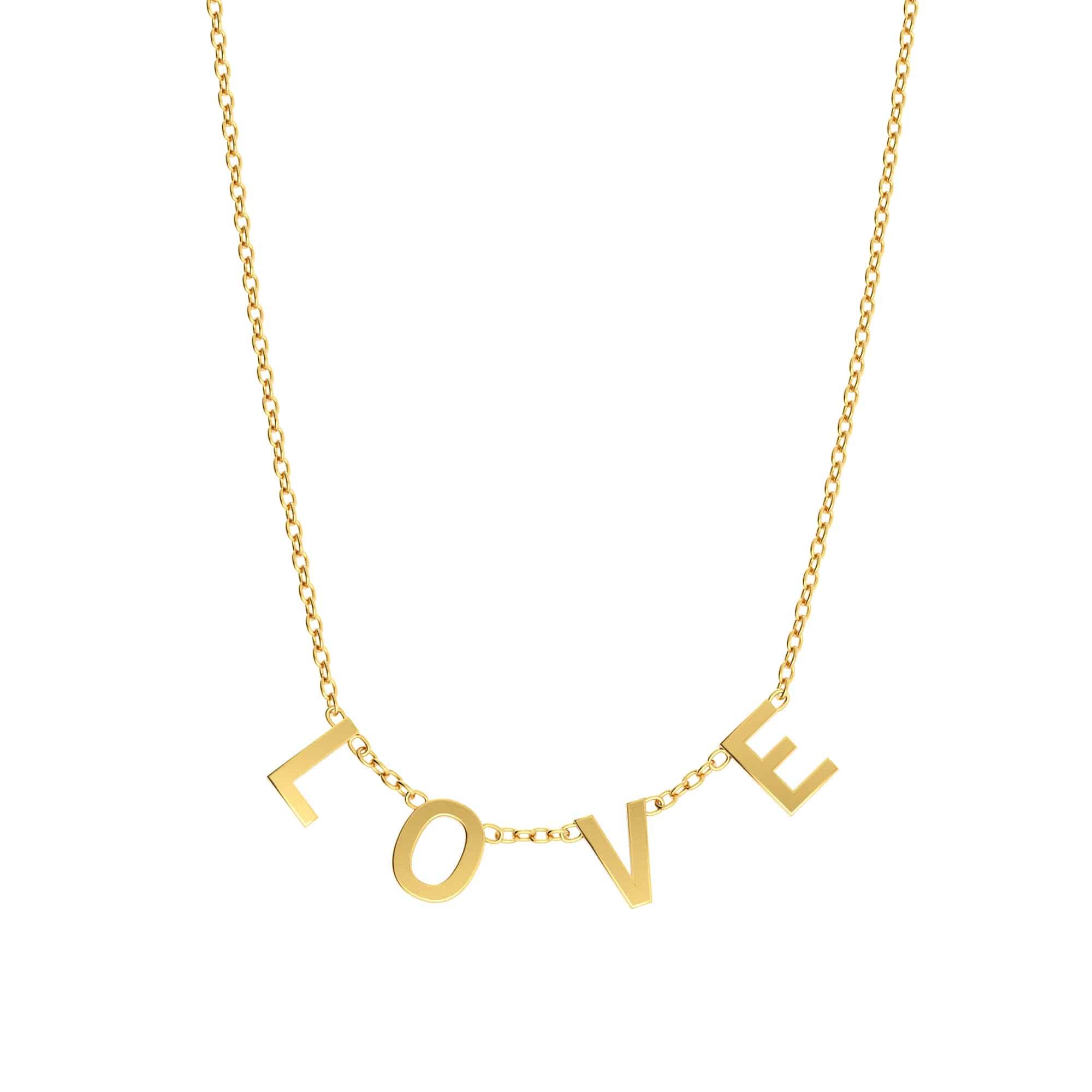 Collier 4 lettres personnalisées - Or jaune 18 carats