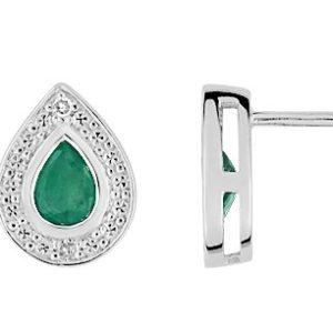 Boucle d'oreille emeraude et diamant