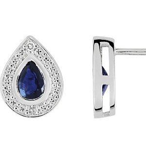 Boucle d'oreille saphir et diamant