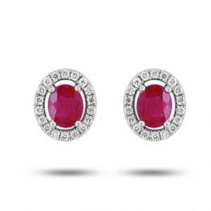 Boucles d'oreilles rubis et diamants - Or blanc