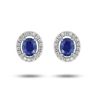 Boucles d'oreilles saphir et diamants - Or blanc