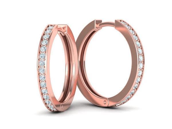 boucles-d-oreilles-creoles-diamant-or-rose-serti-grain-petit-modele