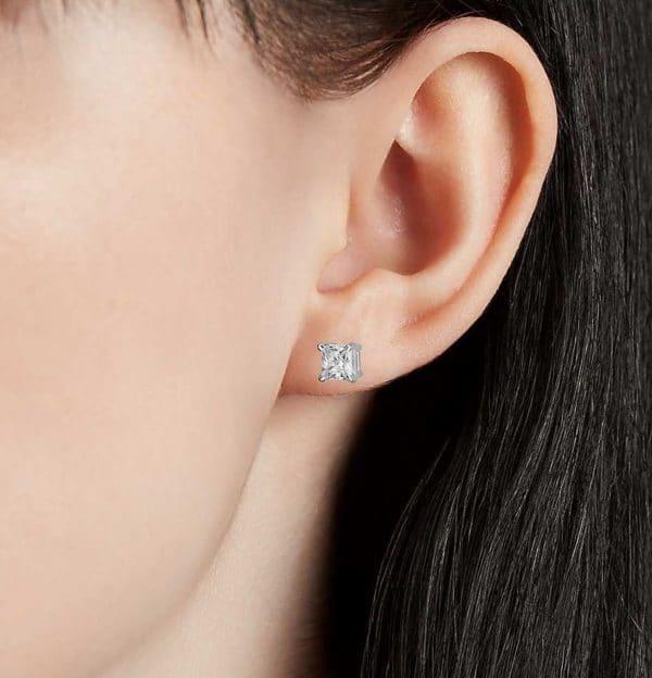 Boucles d'oreilles diamant princesse