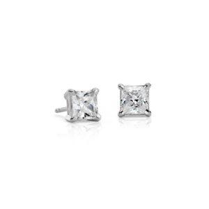 Boucle d'oreilles diamant princesse Or blanc