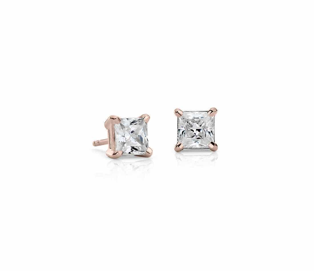 boucles d 39 oreilles diamant princesse or rose atelier du diamant. Black Bedroom Furniture Sets. Home Design Ideas