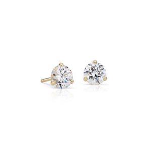 Boucles d'oreilles diamant puces Or jaune