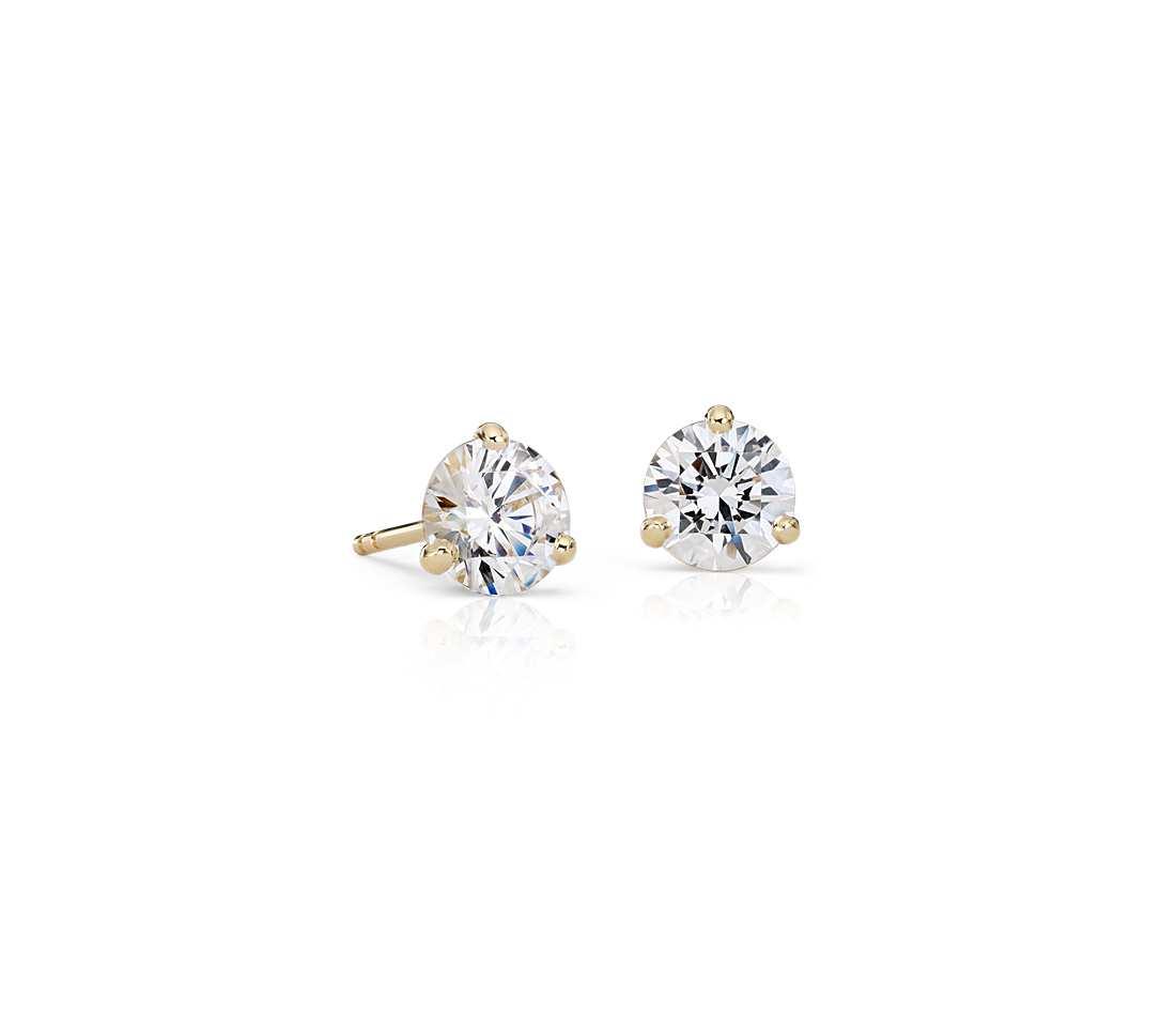 boucles d 39 oreilles puces diamant or jaune atelier du diamant. Black Bedroom Furniture Sets. Home Design Ideas