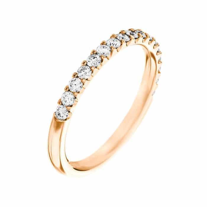Alliance diamant or rose - Alliance mariage diamant