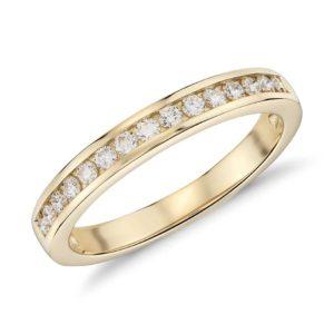 Alliance diamant serti rail Or jaune 18 carats