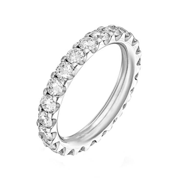 Alliance Diamant Tour Complet Or Blanc 18 Carats Alliance Diamant Mariage