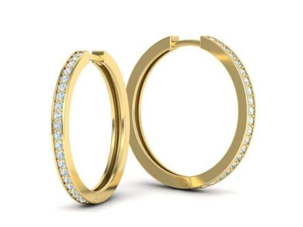 boucles-d-oreilles-creoles-diamant-or-jaune-serti-grain-moyen-modele