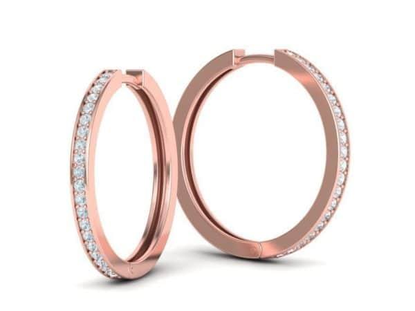 boucles-d-oreilles-creoles-diamant-or-rose-serti-grain-moyen-modele